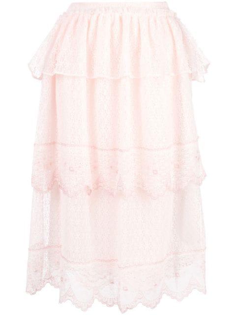 Simone Rocha Pink Women's Frill Tiers Skirt In Peach