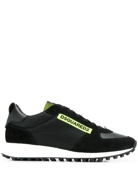 Dsquared2 Black And Green Leather And Technical Fabric Sneakers In M778