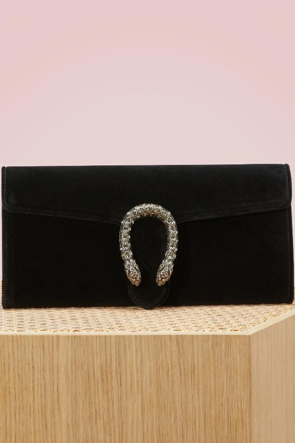 9f155587eae6 Gucci Dionysus Crystal-Embellished Velvet Clutch In Black   ModeSens