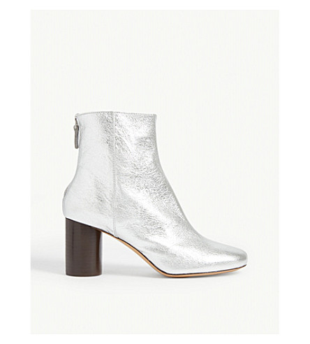 Sandro Sacha Metallic Leather Ankle Boots In Silver