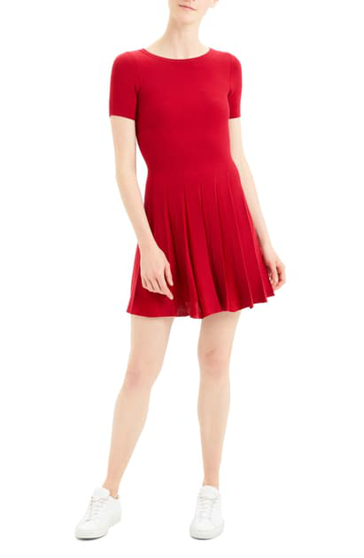 Theory Short-Sleeve Pleated Dress In Dark Crimson