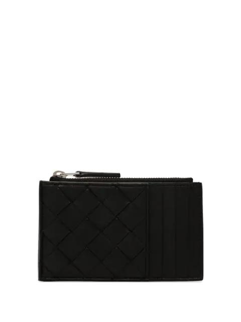 Bottega Veneta Woven Card Holder In Black