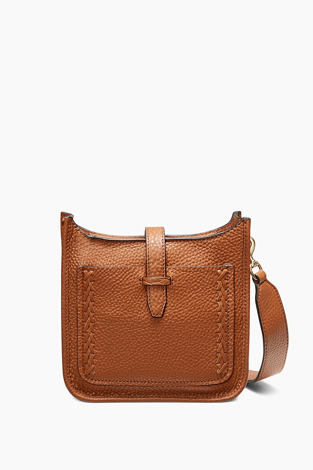 Rebecca Minkoff Unlined Whipstitch Feed Mini Pebbled Leather Crossbody In Almond