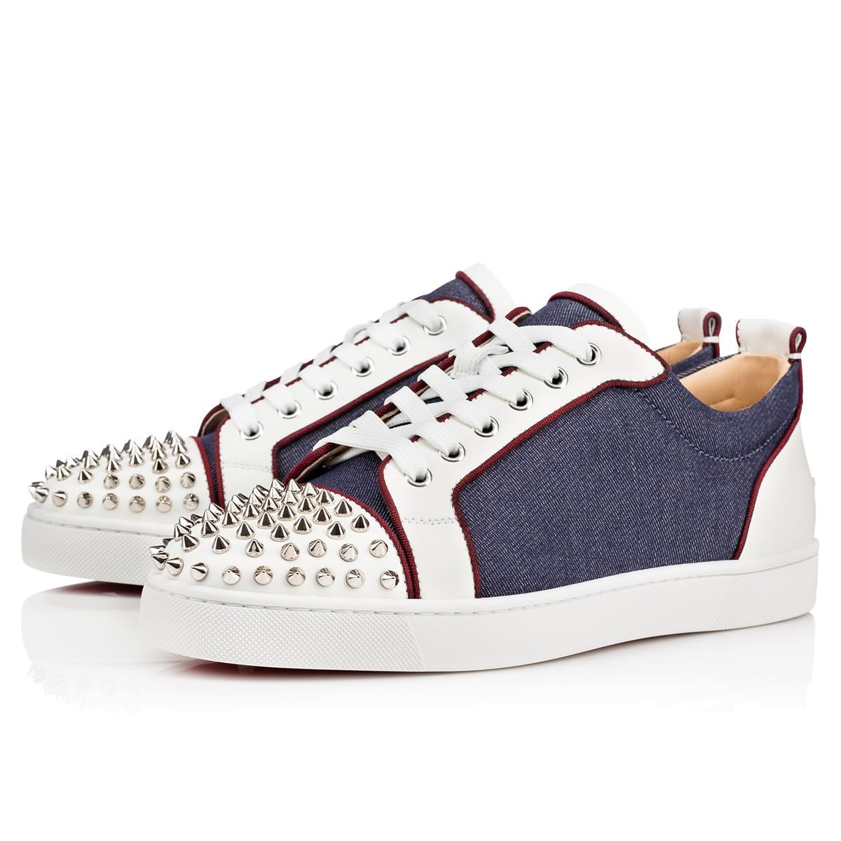 2760052103a7 Christian Louboutin Louis Junior Spikes Orlato Men s Flat Version  Blue Silver Leather - Men Shoes