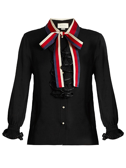 ad35692d0 Gucci Frill-Trimmed Silk-Georgette Blouse In Black | ModeSens