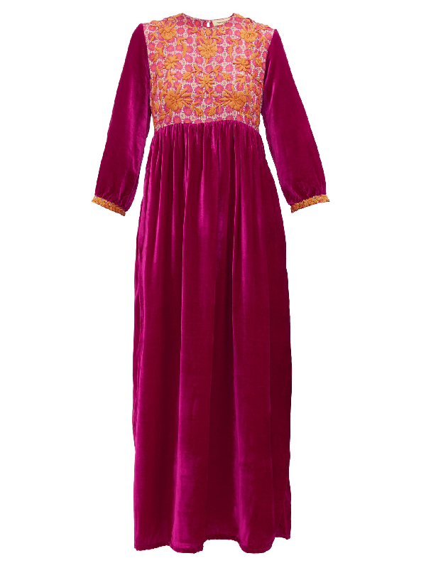 Muzungu Sisters Touba Floral-embroidered Silk-blend Dress In Pink Multi