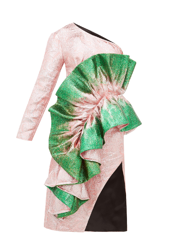Germanier Recycled Asymmetric Glitter-paint Brocade Dress In Green Multi