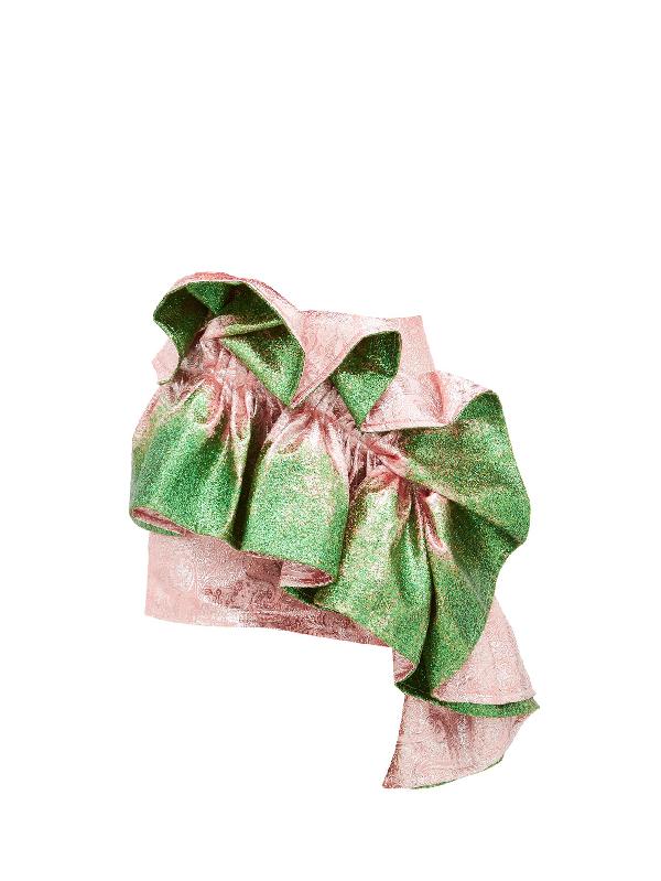 Germanier Recycled Glitter-paint Ruffle Brocade Mini Skirt In Green Multi