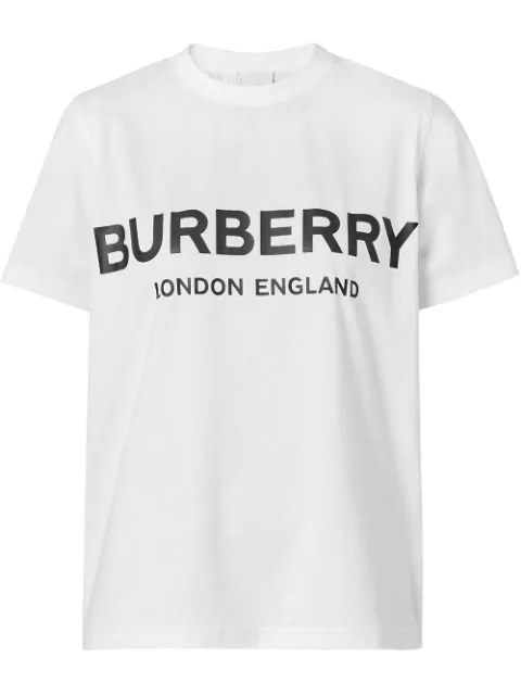 Burberry Oversize Printed Cotton Jersey T-shirt In A1464 White