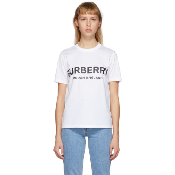Burberry Oversize Printed Cotton Jersey T-shirt In White