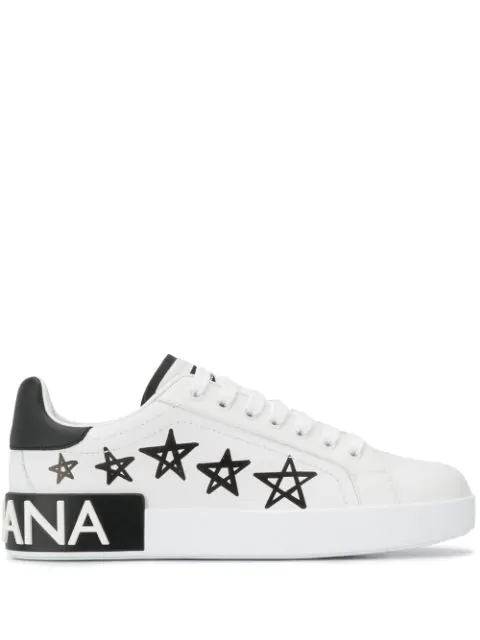 Dolce & Gabbana Black And White Portofino Sneakers Leather With Stars And Logo Print In Hwf57 White