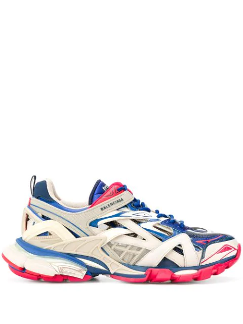 Balenciaga White Men's Blue And Red Track.2 Caged Sneakers In 8570 Beige/Blue/Red