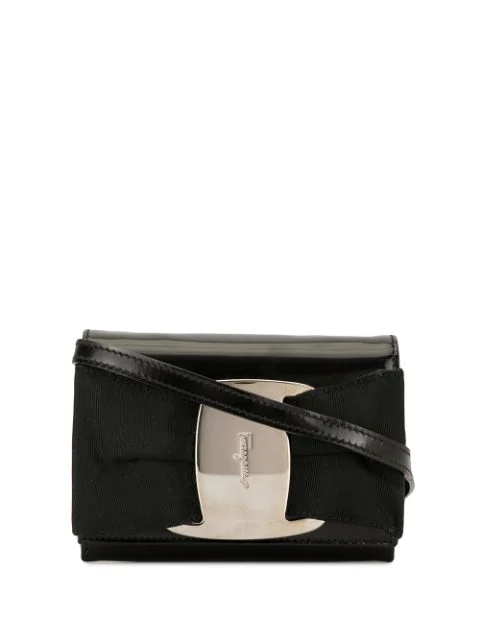 Pre-owned Salvatore Ferragamo Vara Bow Cross Body Bag In Black
