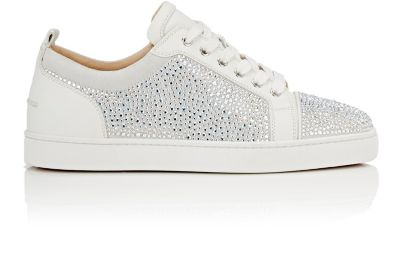 adf9d0ab76f2 Christian Louboutin Louis Junior Embellished Low-Top Leather Trainers In  White