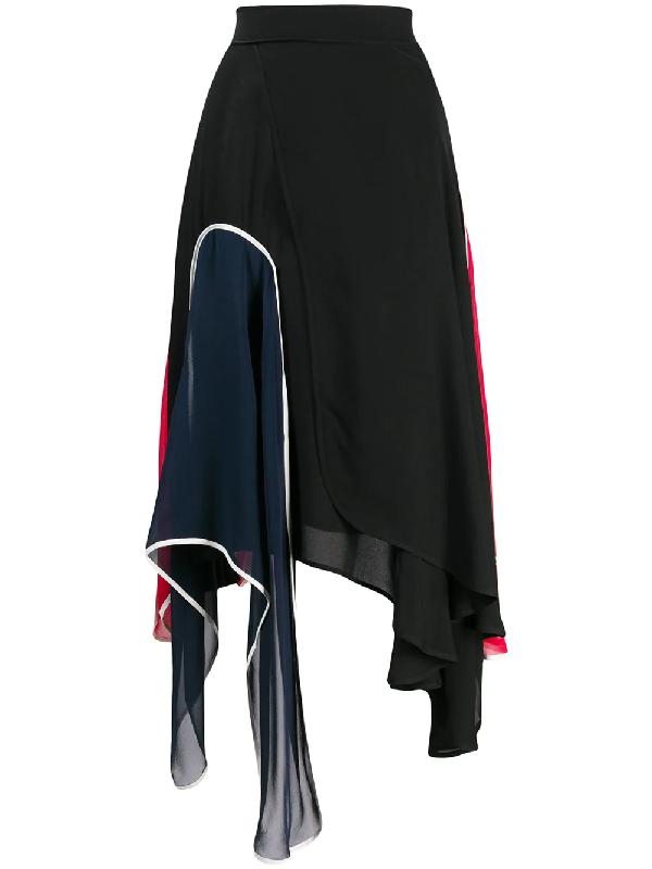 Jw Anderson Asymmetric Panelled Skirt In Black