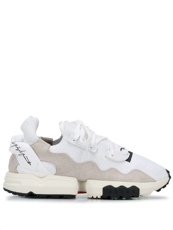 Y-3 Stitching Detail Sneakers In White