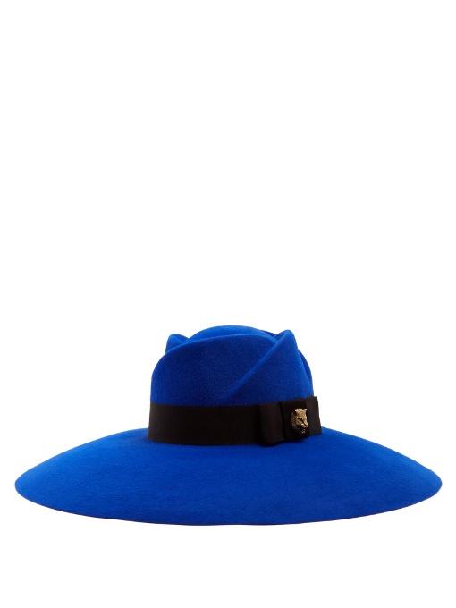 c7be1d629760ca Gucci Fur-Felt Wide-Brim Trilby Hat In Royal Blue