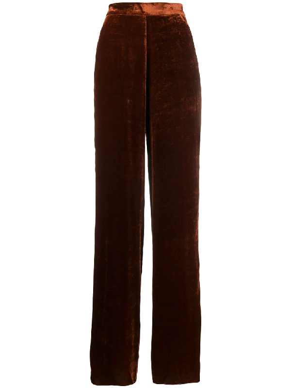 Etro Crushed Velvet Trousers In Brown