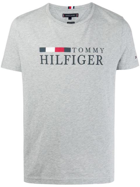 Tommy Hilfiger Logo Print T In P9v-cloud Htr