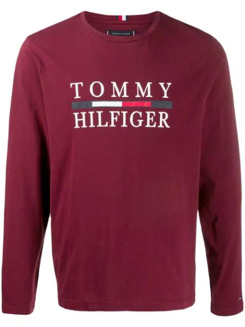 Tommy Hilfiger T-shirt Mit Logo-print In Xuu-tawny Port