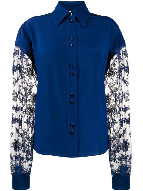 Givenchy Floral Lace Long-sleeved Blouse In Blue