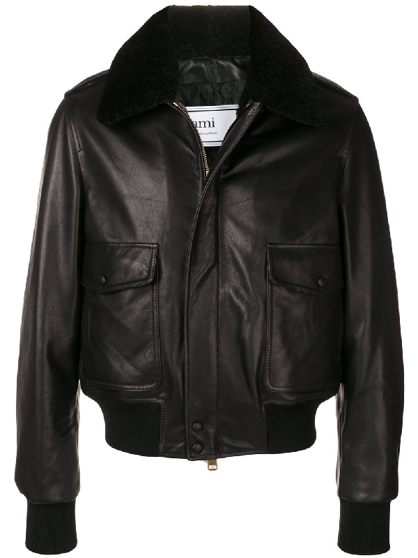 Ami Alexandre Mattiussi Shearling Grained Leather Jacket In 001 Black