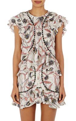 f0432b12762 Isabel Marant 'Unice' Cabochon Lace Floral Print Ruffled Top In Ecru ...