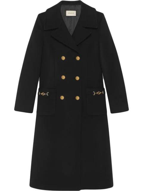 Gucci Interlocking G Horsebit Coat In Black