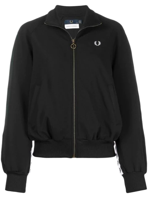 Fred Perry Embroidered Logo Bomber Jacket In Black