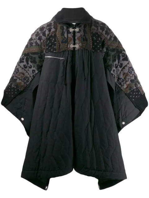Sacai Padded Cape Coat In 327 Black Grey