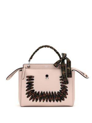 c5d0a6a0d48d Fendi Dot.Com Ribbon-Laced Leather Top Handle Bag In Pink