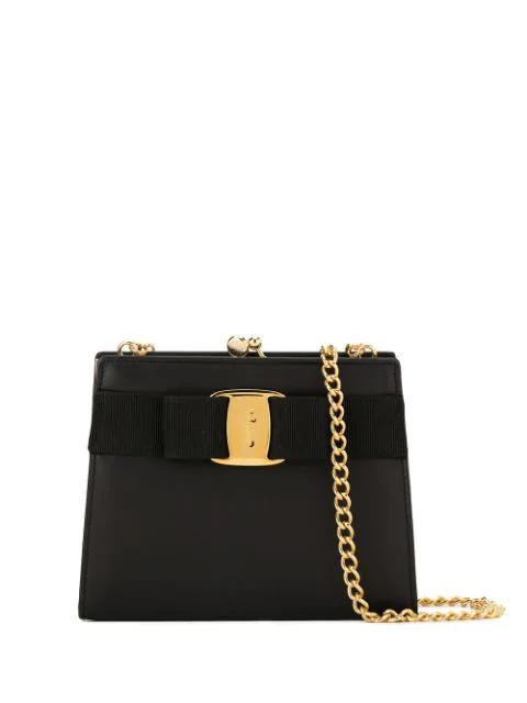 Pre-owned Salvatore Ferragamo Vara Bow Chain Shoulder Bag In Black