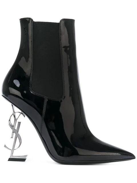 Saint Laurent Opyum Patent Booties With Monogram Ysl Heel, Black/Silver