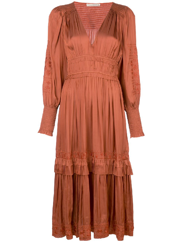 Ulla Johnson Shaina Floral Embroidery Dress In Brown