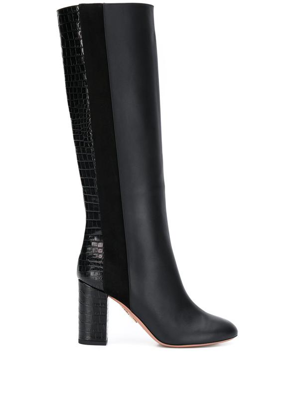 Aquazzura Women's Eaton Knee-high Croc-embossed Leather & Suede Boots In Black