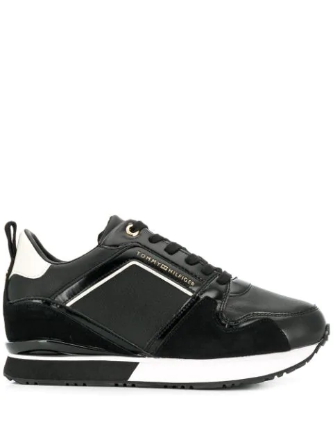 Tommy Hilfiger Leather Lace-up Sneakers In Black