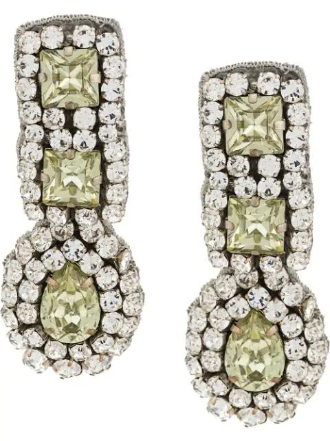 Moschino Crystal Pendant Clip-on Earrings In Yellow