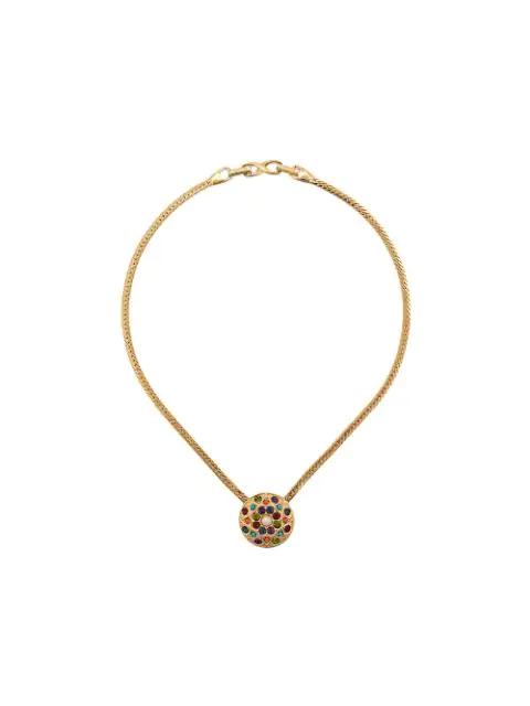 Pre-owned Susan Caplan Vintage 1980s D'orlan Embellished Pendant Necklace In Gold