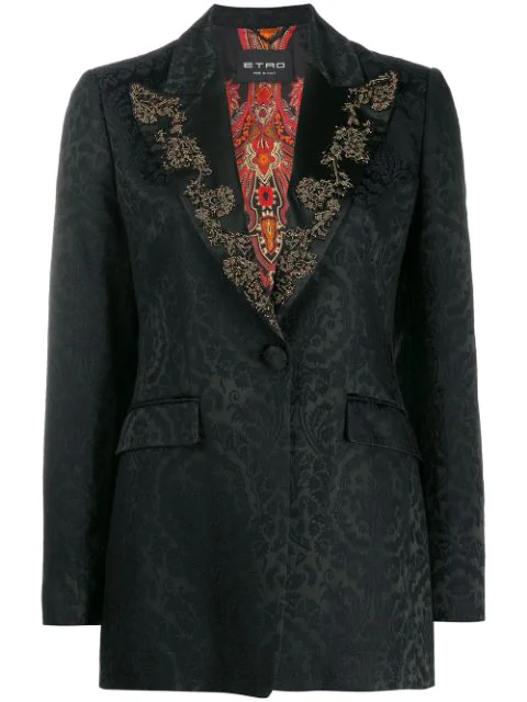 Etro Brocade Print Embellished Blazer In 0001 Black