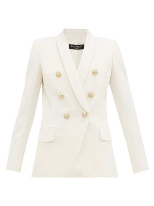 Balmain White Wool Double Breasted Jacket In Ivory