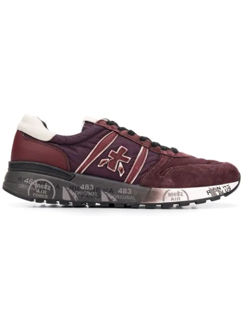 Premiata Lander Suede And Tech Fabric Sneakers In Red