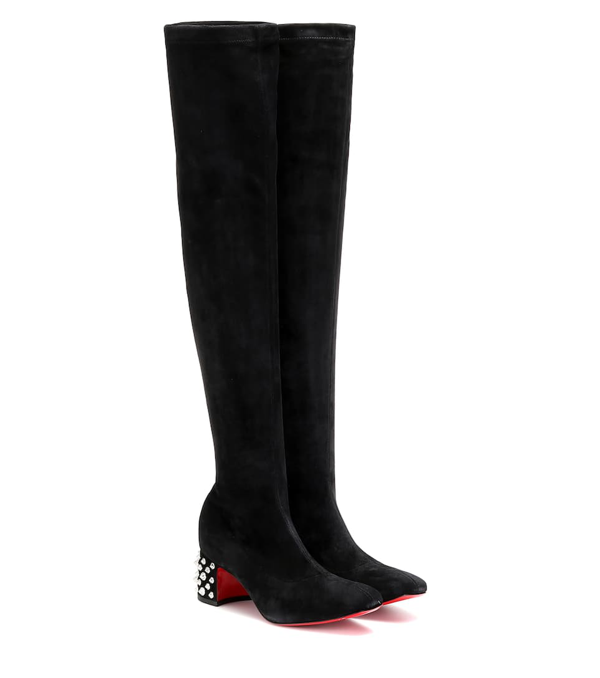 Christian Louboutin Study Stretch 55 Spiked Suede Over-the-knee Boots In Black