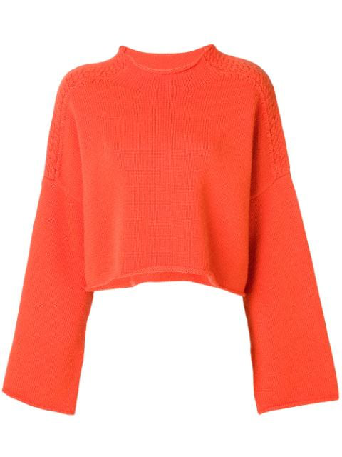 Jw Anderson J.W.Anderson Woman Cropped AppliquÉD Wool And Cashmere-Blend Sweater Bright Orange In 430 Tangerine