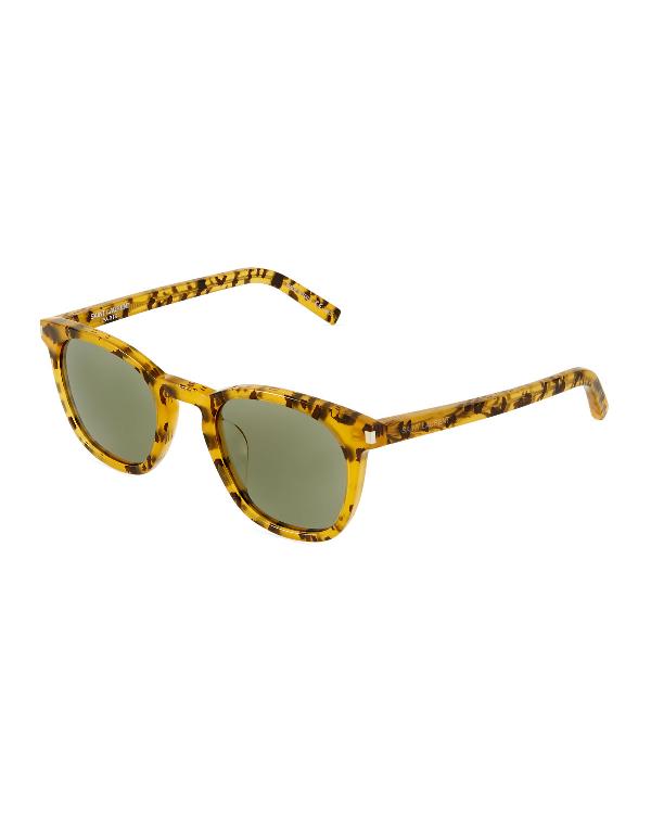Saint Laurent Round Animal-Print Acetate Sunglasses In Green
