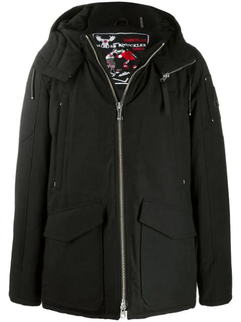 Moose Knuckles Millstream Faux-fur Lined Twill-down Jacket In Black
