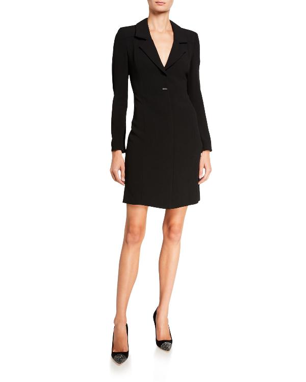 Armani Collezioni Emporio Armani V-neck Mini Blazer Dress In Black