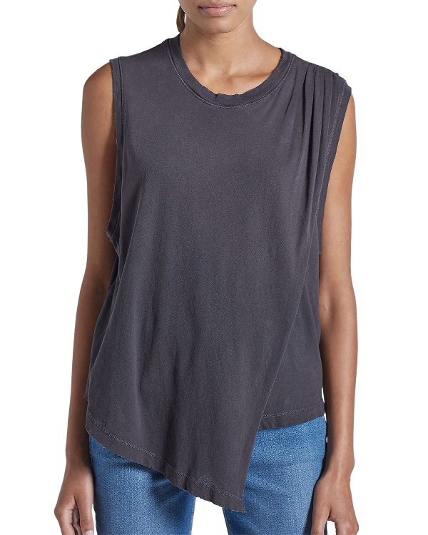 Current Elliott Current/Elliott The Night Out Asymmetric Tank In Washed Black