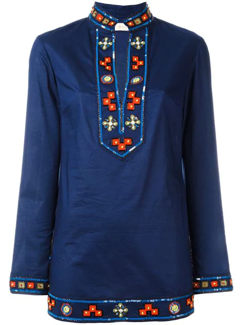 2146f19b0f6 Tory Burch Long-Sleeve Embellished Tory Tunic, Navy In Blue | ModeSens