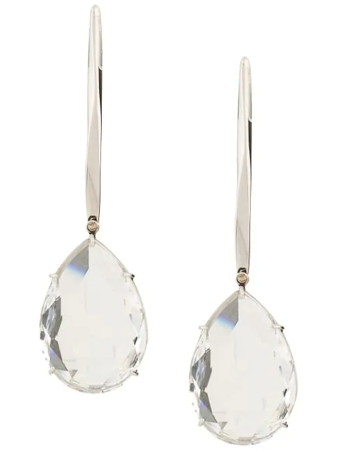 Alexander Mcqueen Silver-Tone Crystal Drop Earrings In 1355 Silver