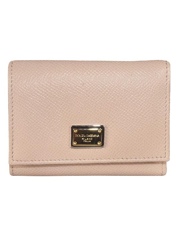 Dolce & Gabbana Daphine Logo Plaque Wallet In Peach